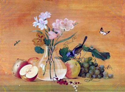 Цветы фрукты птица картина толстой